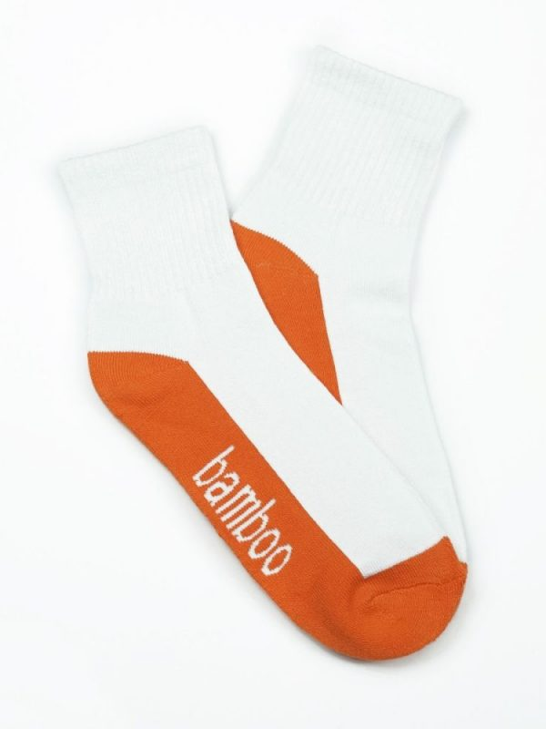 Bamboo Quarter Crew Cushion Socks – White/Orange