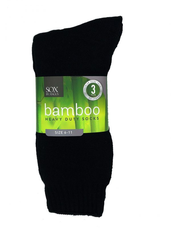 Bamboo Heavy Duty Socks – 3 Pairs Pack – Black