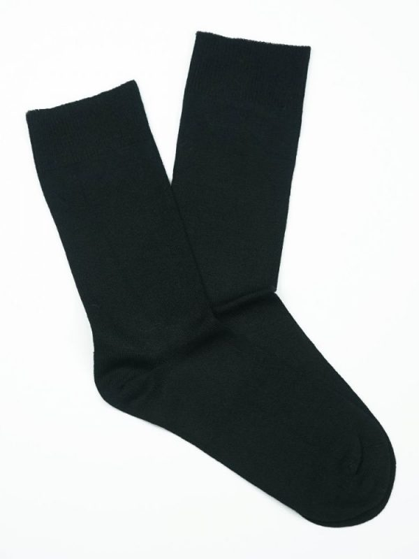 Cotton Loose Top Socks – Black