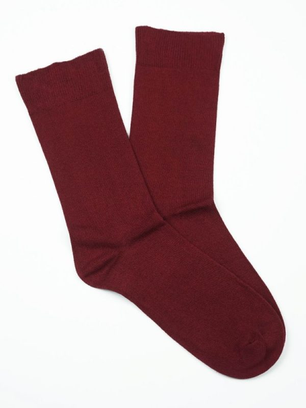 Cotton Loose Top Socks – Burgundy