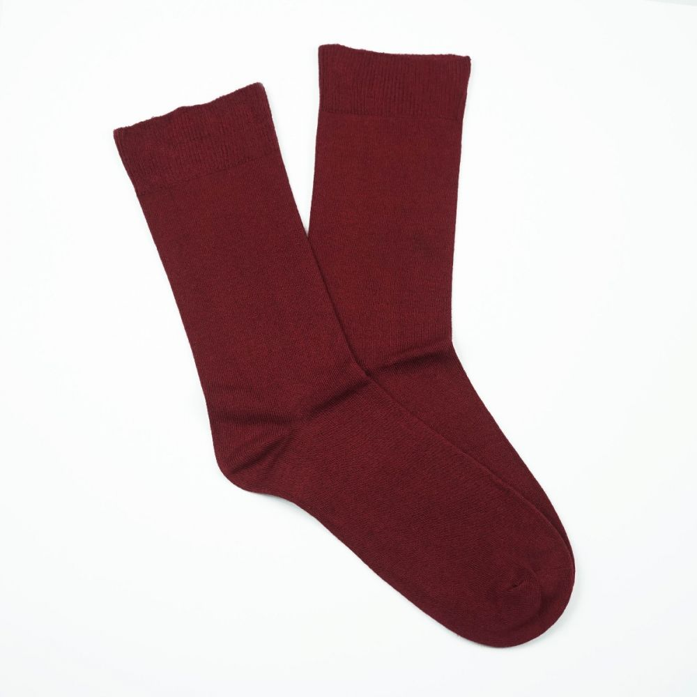 Cotton Loose Top Socks Burgundy