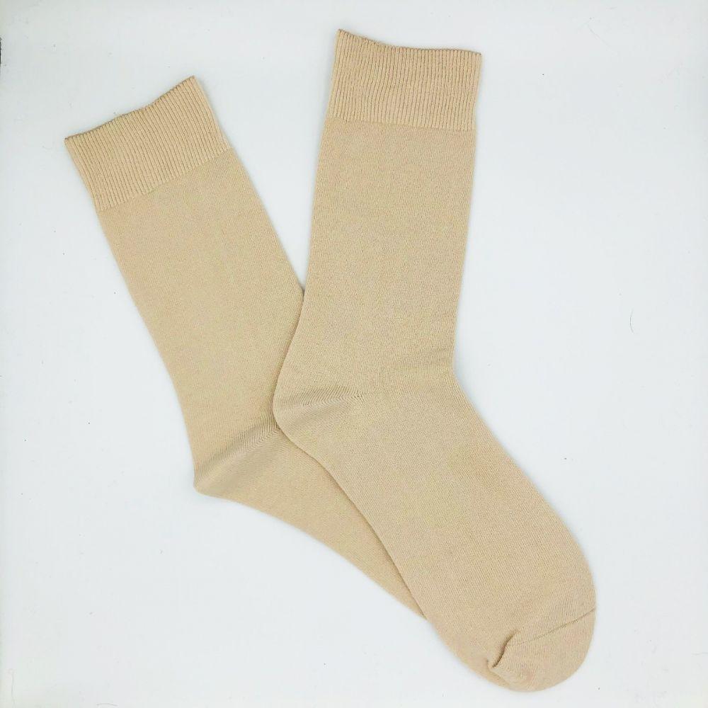 Cotton Loose Top Socks - Fawn