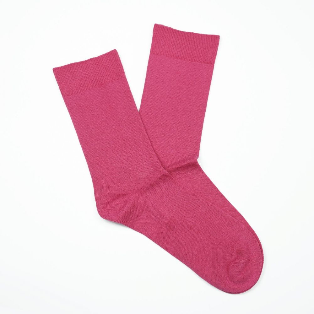 Cotton Loose Top Socks - Hot Pink