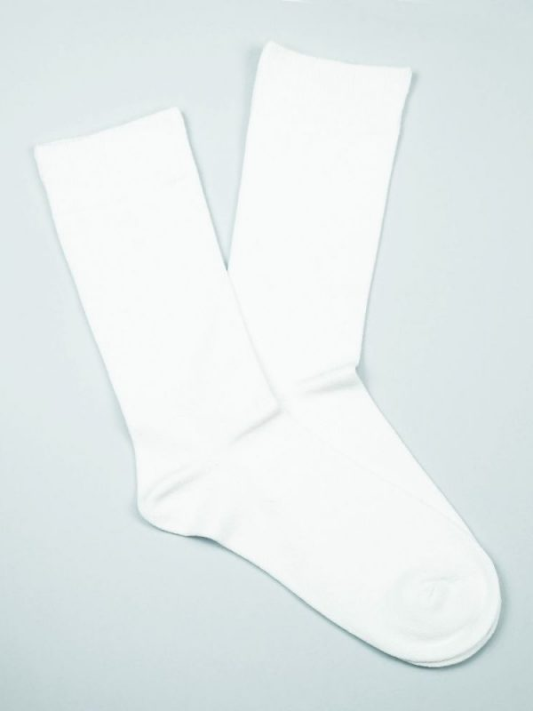 Cotton Loose Top Socks – White