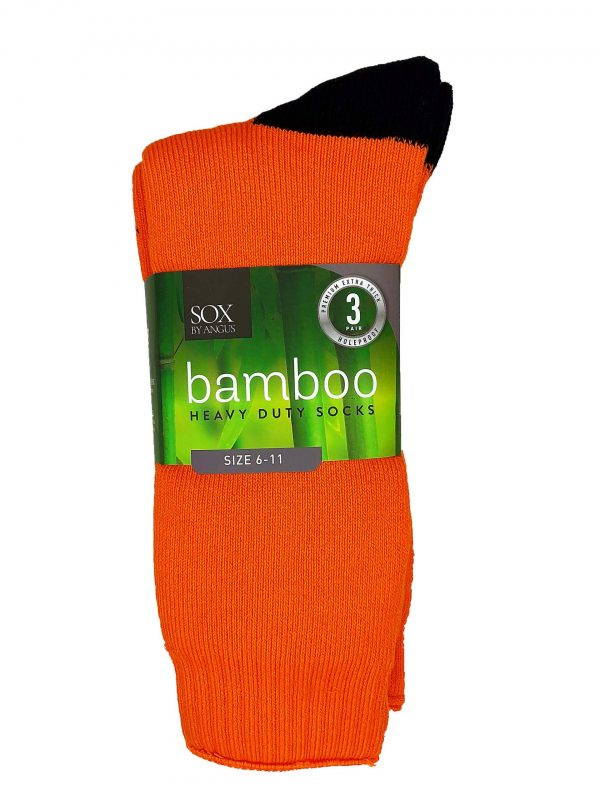 Bamboo Heavy Duty Socks – 3 Pairs Pack – Fluoro Orange/Black