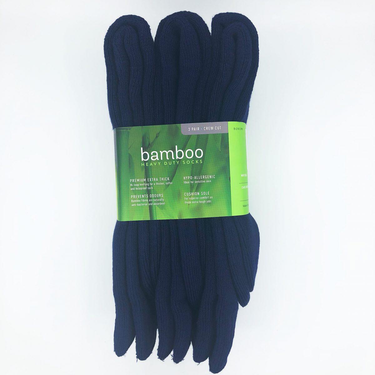 Bamboo Heavy Duty Socks - 3 Pairs Pack - Navy Blue