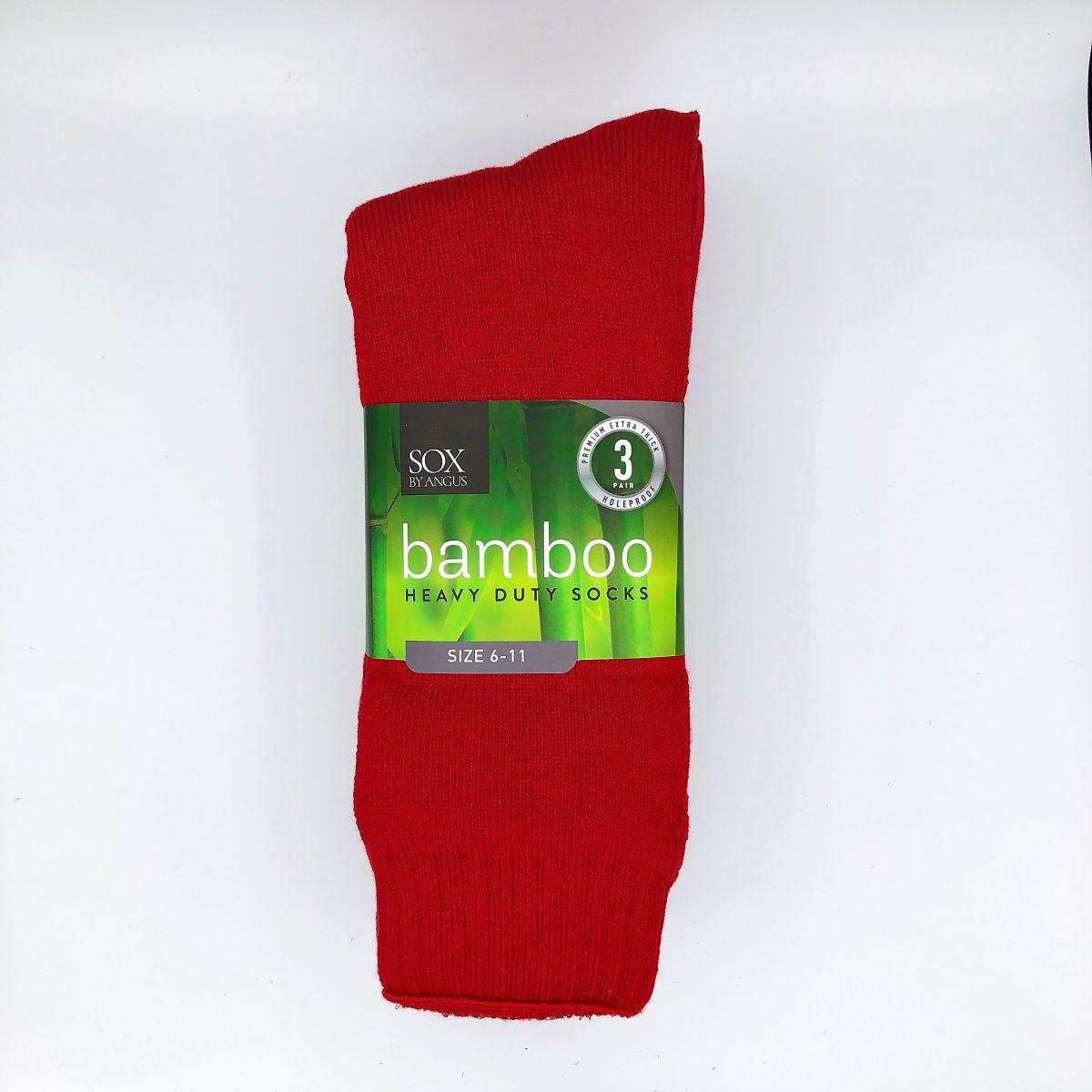 Bamboo Heavy Duty Socks - 3 Pairs Pack - Red