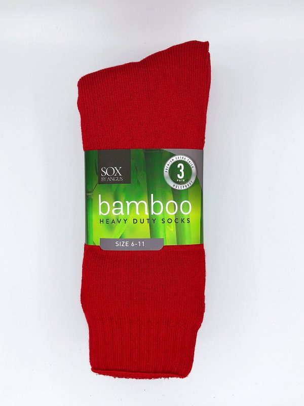 Bamboo Heavy Duty Socks – 3 Pairs Pack – Red