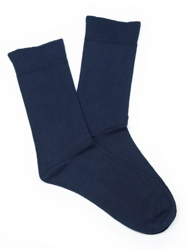 Bamboo Plain Loose Top Socks – Navy Blue