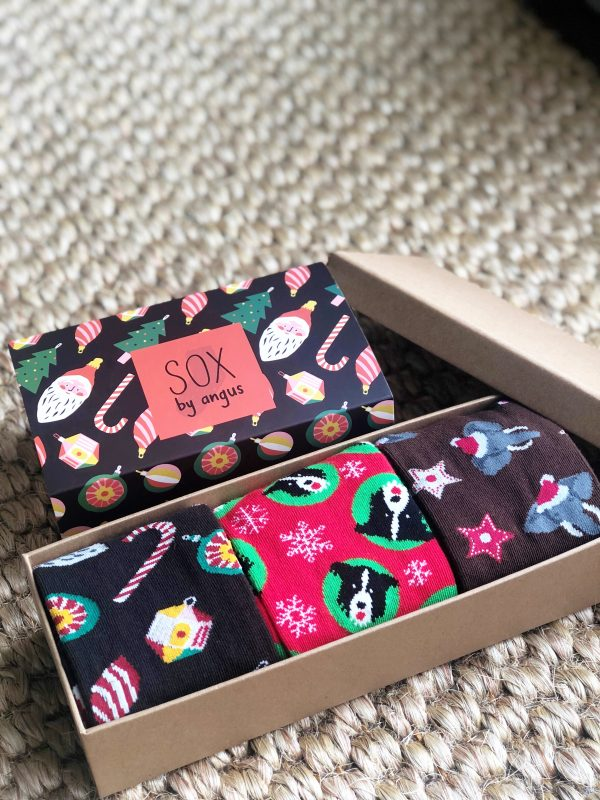 X'mas Gift Box F (Combed cotton novelty socks)