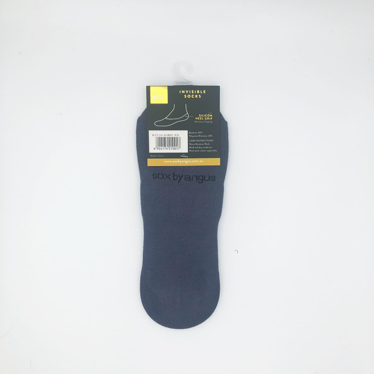 Bamboo invisible socks-hight cut-Gray