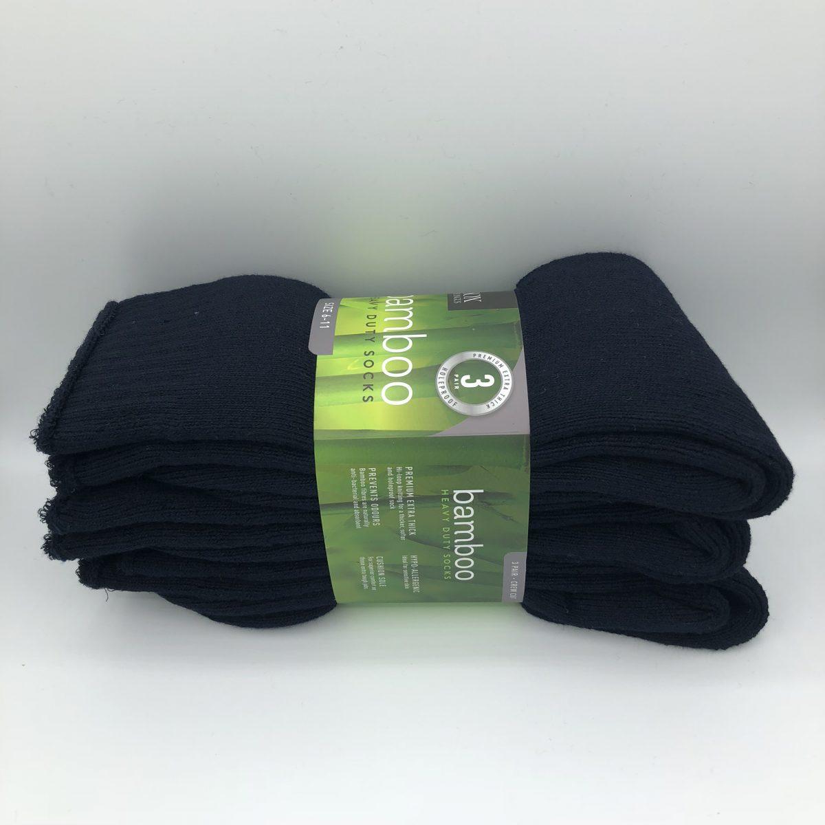 Bamboo Heavy Duty Socks - 3 Pairs Pack - Navy