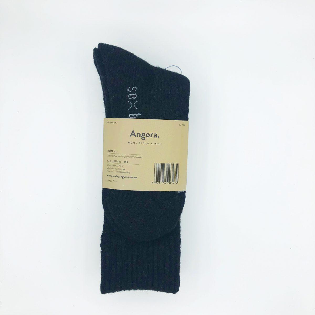 Angora Wool Blend Socks 2 Pair Pack - Black