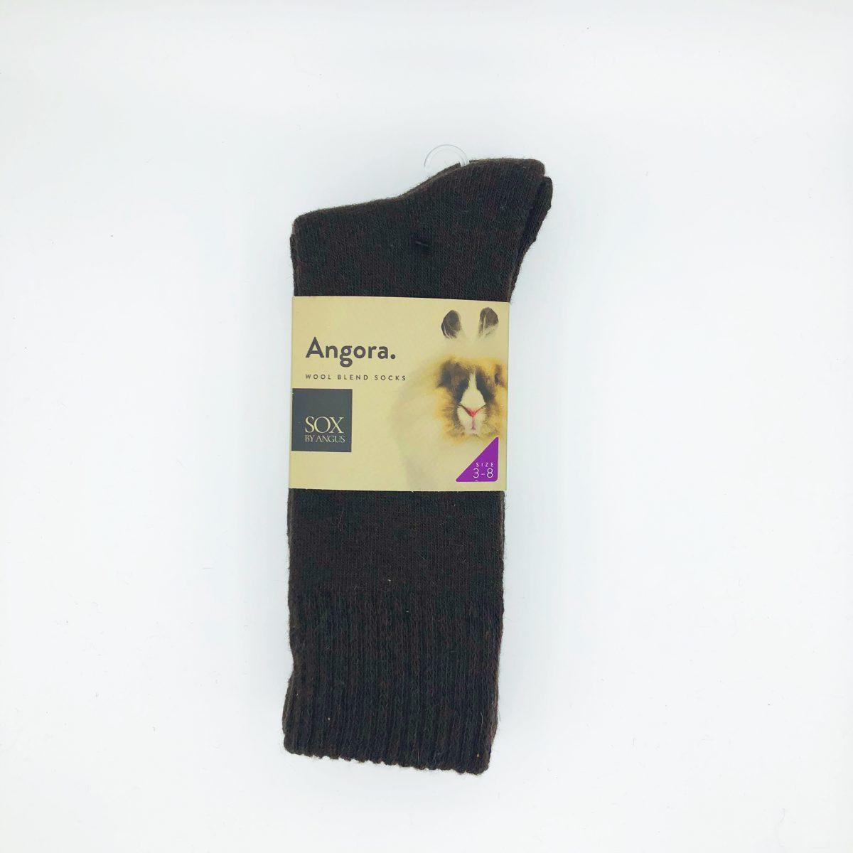 Angora Wool Blend Socks 2 Pair Pack - Brown