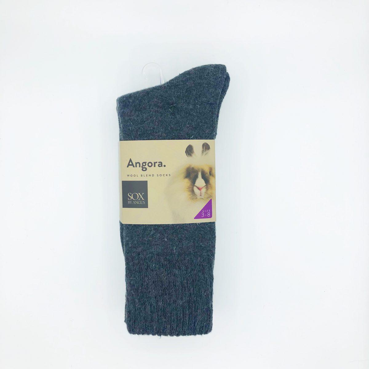 Angora Wool Blend Socks 2 Pair Pack - Charcoal