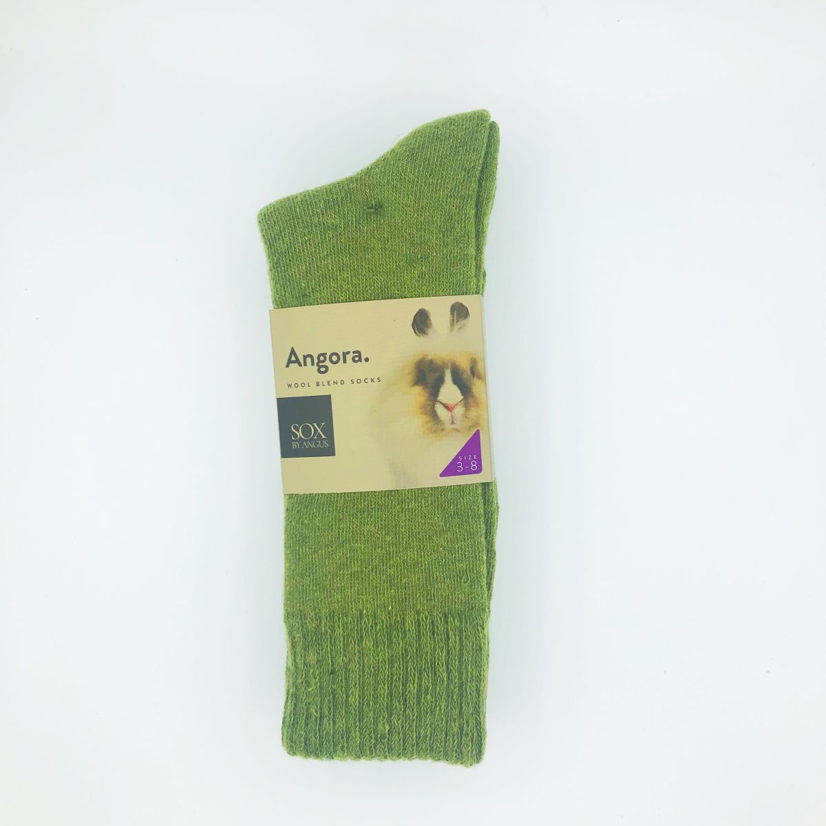 Angora Wool Blend Socks 2 Pair Pack - Khaki Green