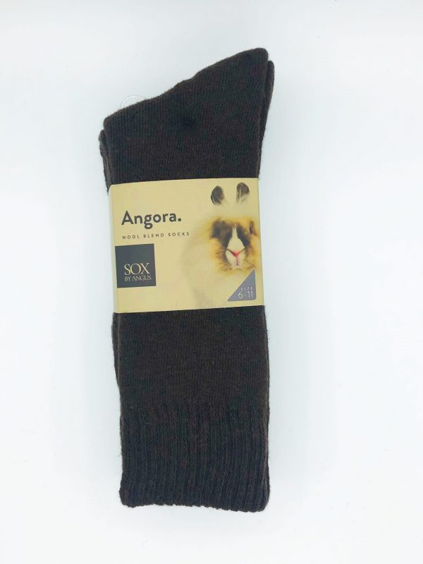 Angora Wool Blend Socks 2 Pair Pack – Brown