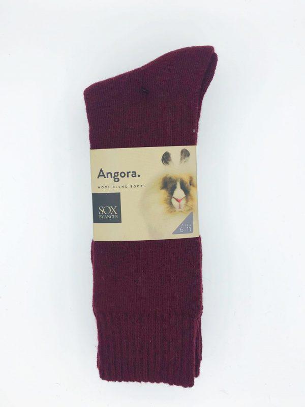 Angora Wool Blend Socks 2 Pair Pack – Burgundy