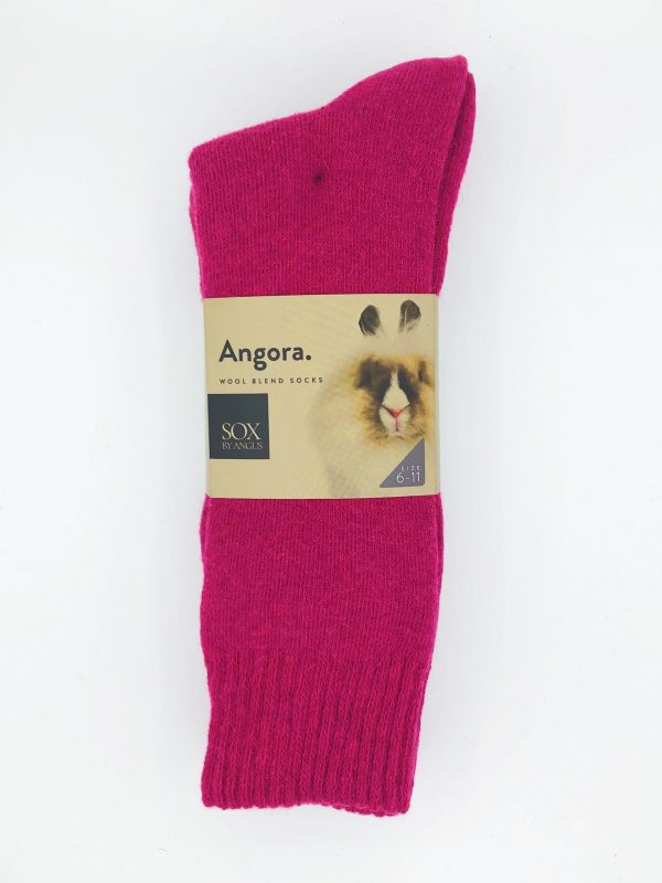Angora Wool Blend Socks 2 Pair Pack – Hot Pink