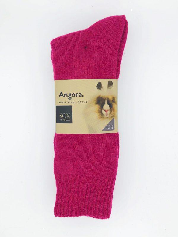 Angora Wool Blend Socks 2 Pair Pack – Hot Pink