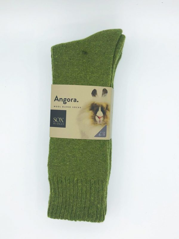 Angora Wool Blend Socks 2 Pair Pack – Khaki Green