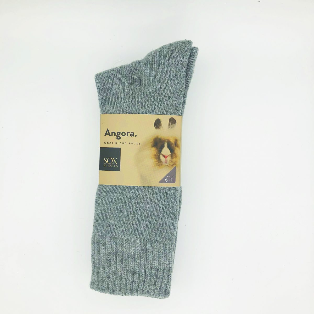 Angora Wool Blend Socks 2 Pair Pack - Light Grey