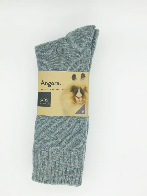 Angora Wool Blend Socks 2 Pair Pack – Light Grey
