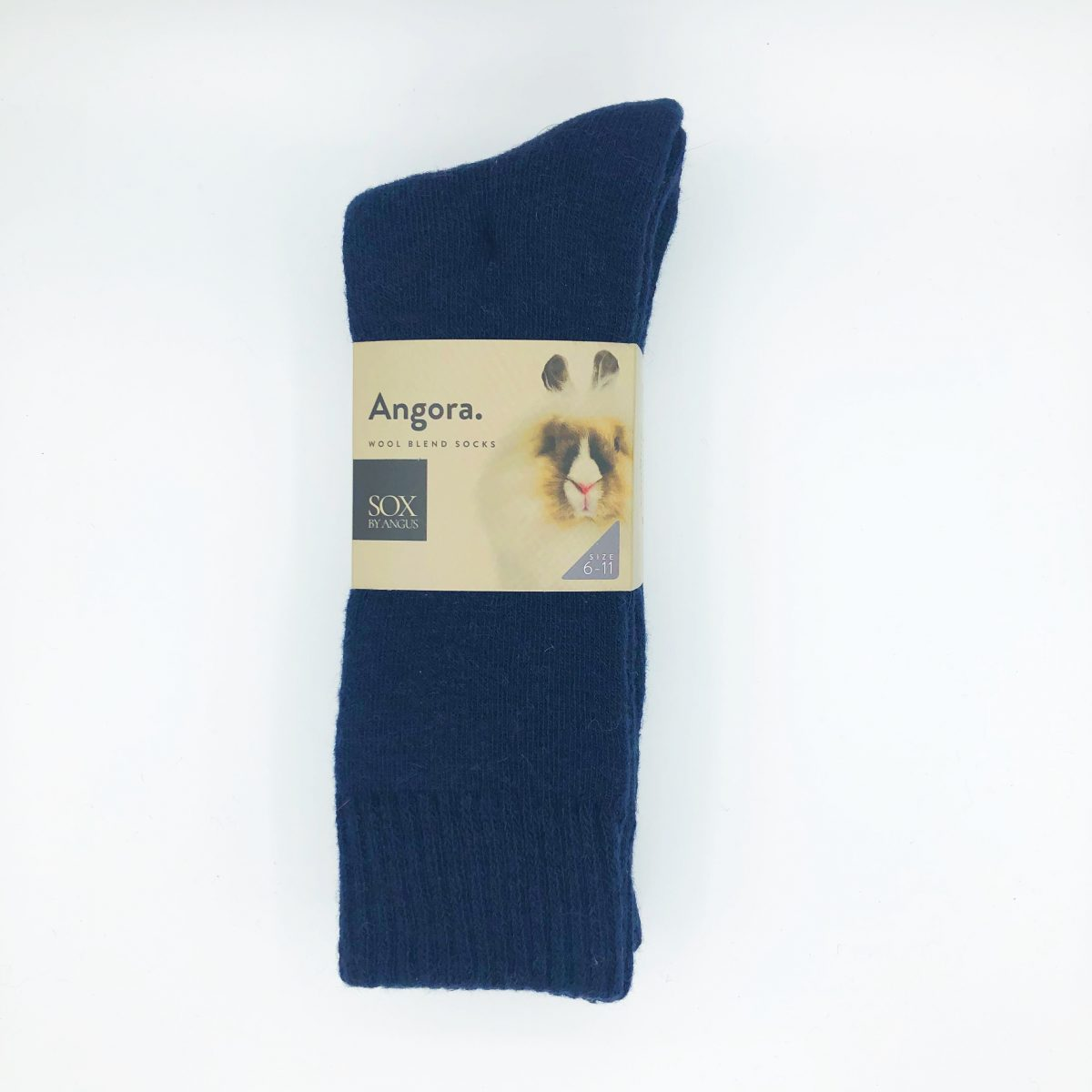 Angora Wool Blend Socks 2 Pair Pack - Navy