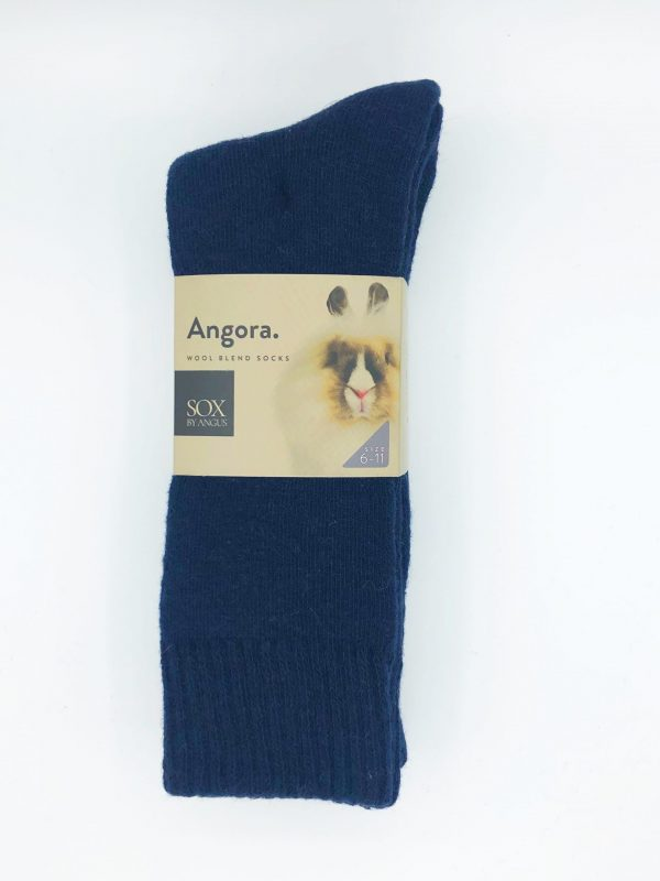 Angora Wool Blend Socks 2 Pair Pack – Navy