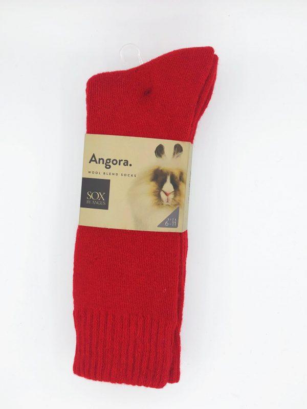 Angora Wool Blend Socks 2 Pair Pack – Red