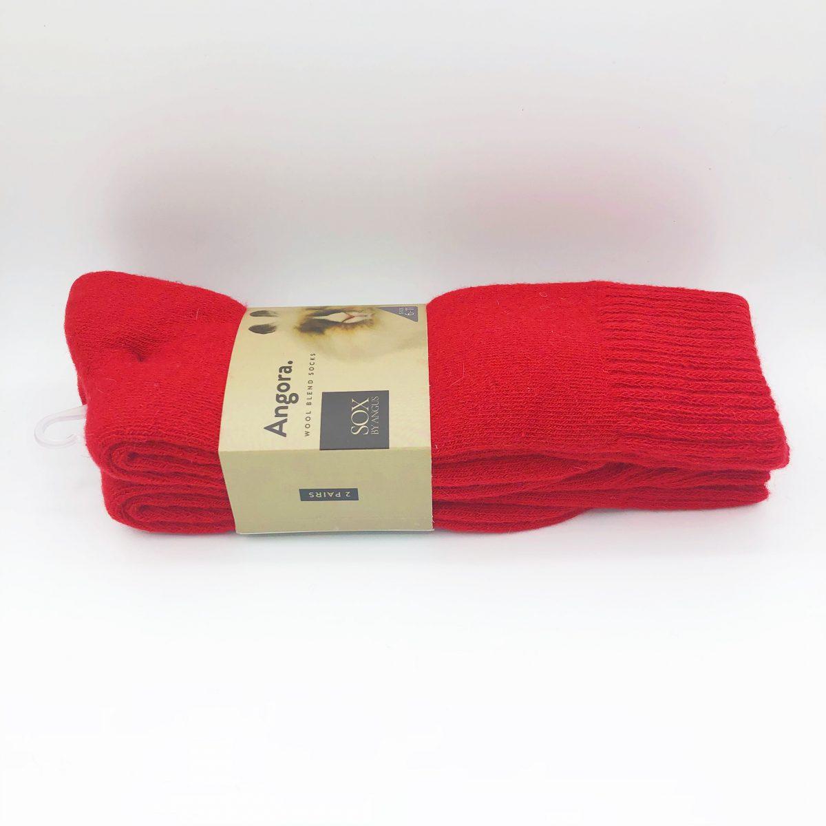 Angora Wool Blend Socks 2 Pair Pack - Red