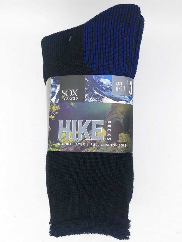 Wool Blend HIKE Socks 3 Pair Pack – Black-Royal-Blue