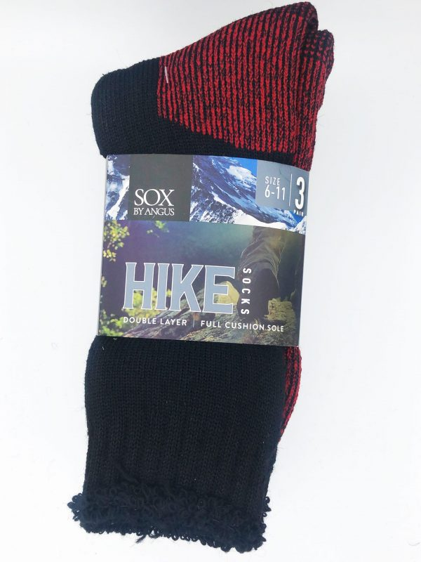 Wool Blend HIKE Socks 3 Pair Pack – Black-Red
