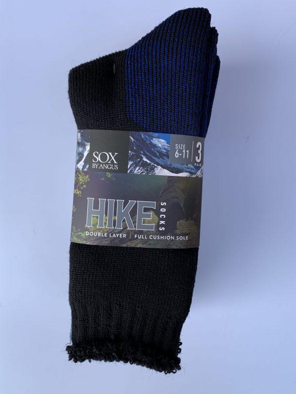 Wool Blend HIKE Socks 3 Pair Pack – Black-Royal-Blue