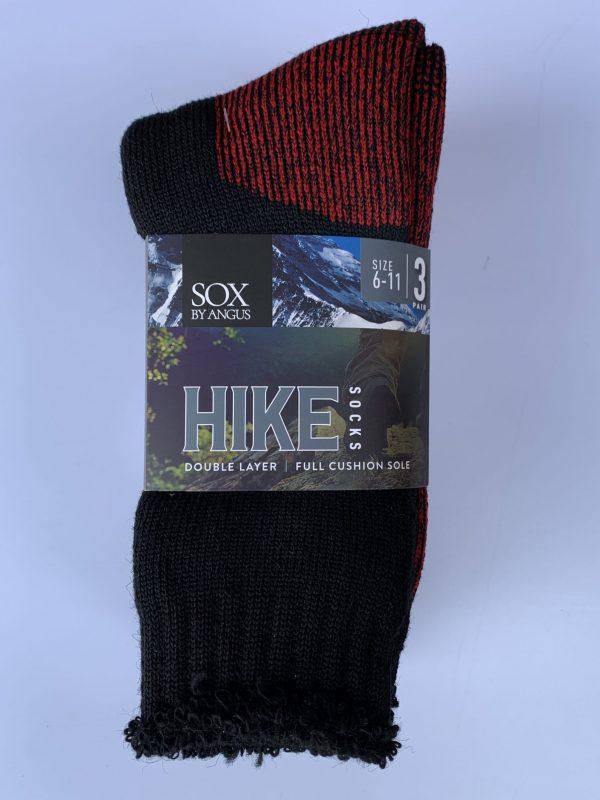 Wool Blend HIKE Socks 3 Pair Pack – Black-Red