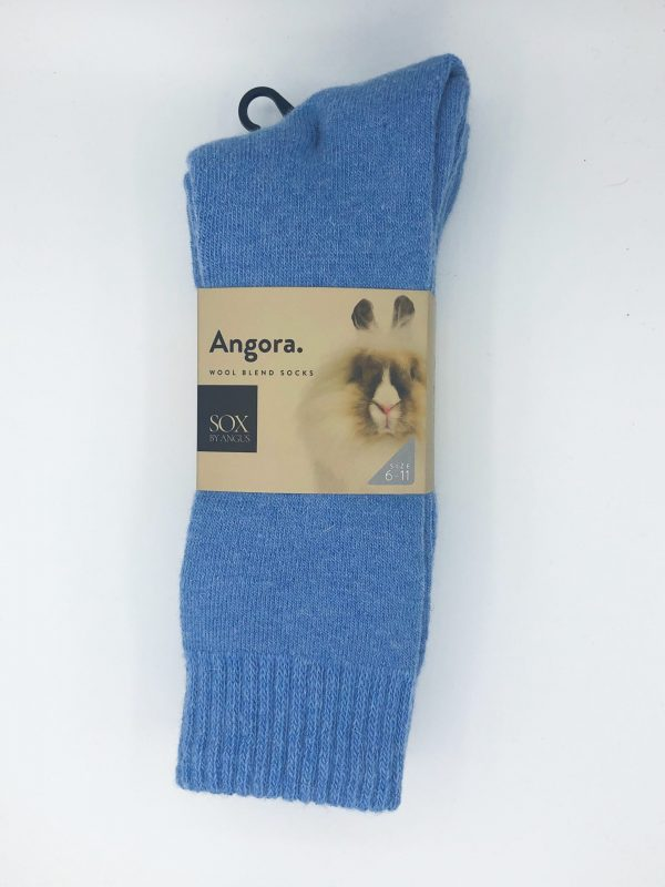 Angora Wool Blend Socks 2 Pair Pack – Sky Blue