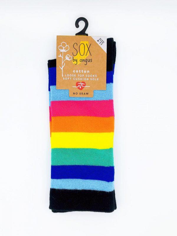 Cotton Loose Top Socks – Rainbow Stripe 6#