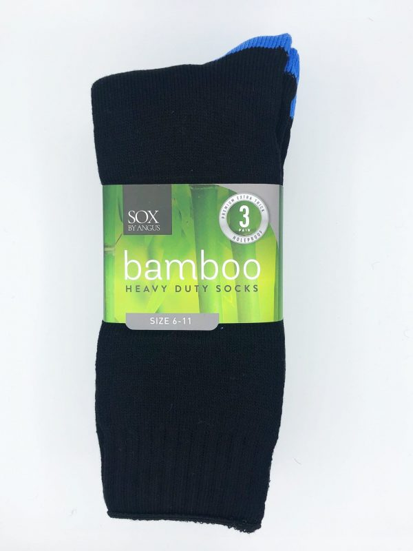 Bamboo Heavy Duty Socks – 3 Pairs Pack – Black/Blue