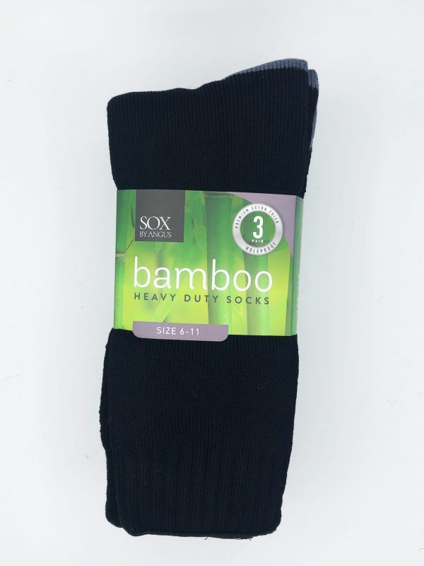 Bamboo Heavy Duty Socks – 3 Pairs Pack – Black/Grey