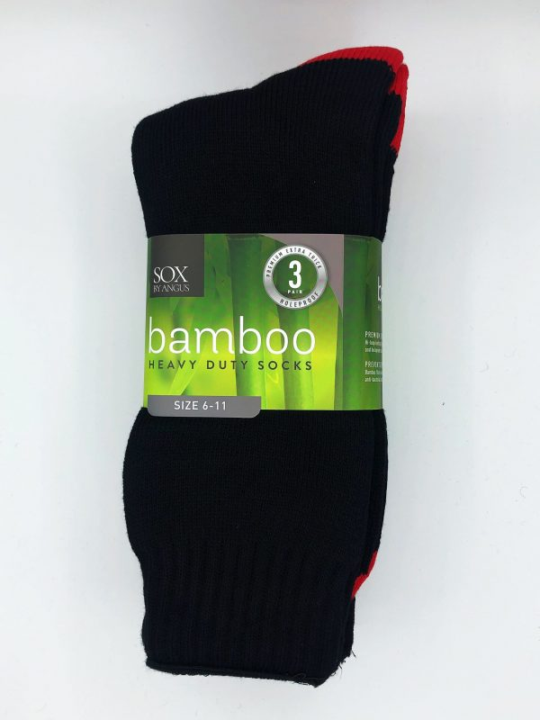 Bamboo Heavy Duty Socks – 3 Pairs Pack – Black/Red