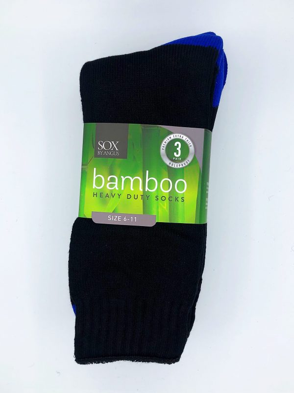 Bamboo Heavy Duty Socks – 3 Pairs Pack – Black/Royal blue