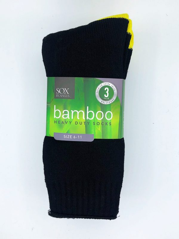 Bamboo Heavy Duty Socks – 3 Pairs Pack – Black/Yellow