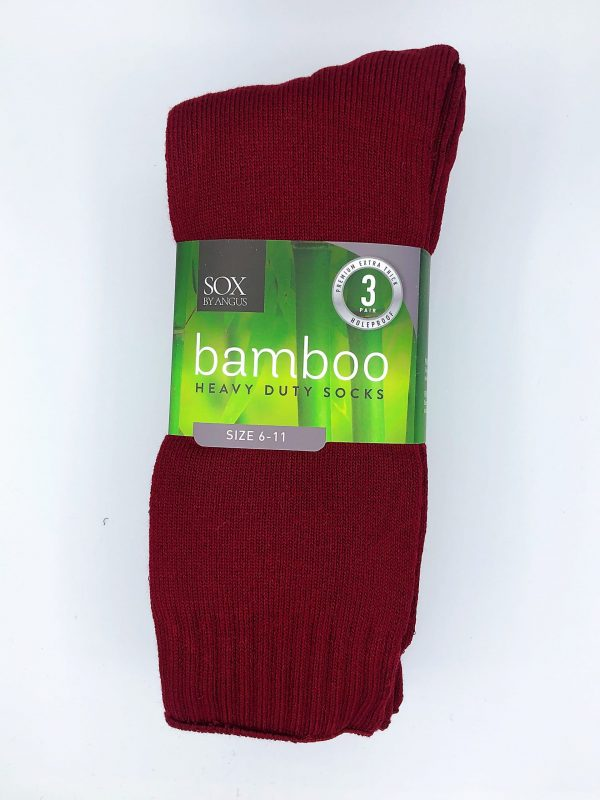 Bamboo Heavy Duty Socks – 3 Pairs Pack – Burgundy