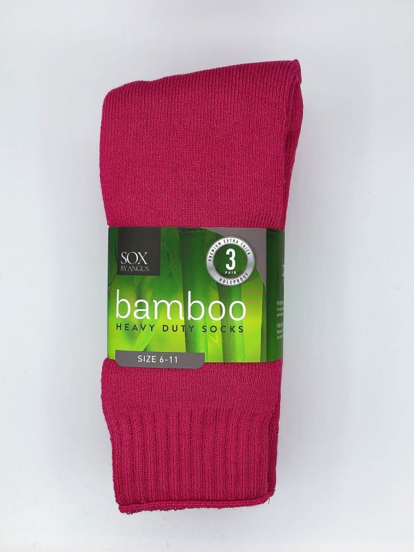 Bamboo Heavy Duty Socks – 3 Pairs Pack – Hot pink