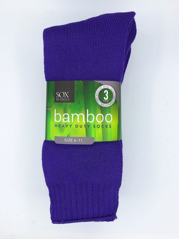Bamboo Heavy Duty Socks – 3 Pairs Pack – Purple