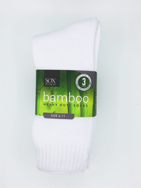 Bamboo Heavy Duty Socks – 3 Pairs Pack – White