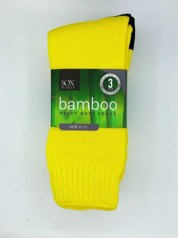 Bamboo Heavy Duty Socks – 3 Pairs Pack – Yellow/Black