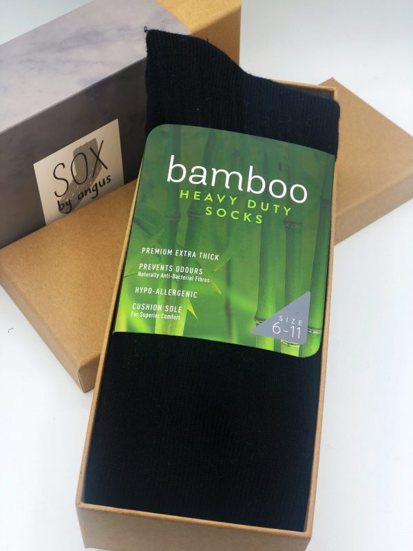 Gift Box-Bamboo KNEE HIGH heavy duty socks-Black