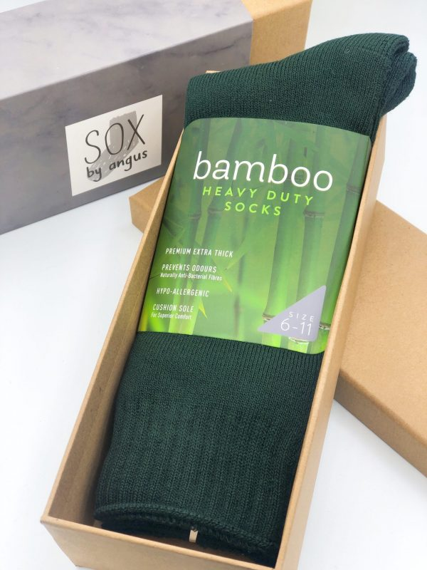 Gift Box-Bamboo heavy duty socks-Bottle green
