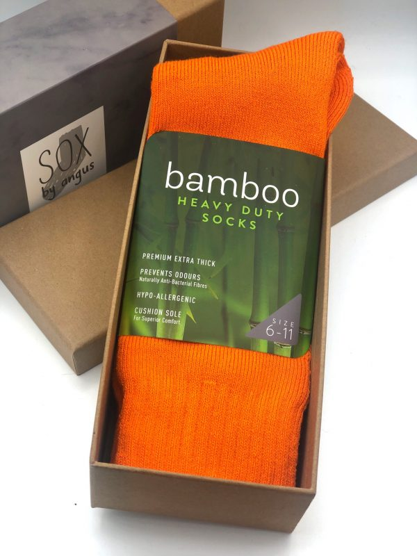 Gift Box-Bamboo heavy duty socks-Fluoro orange